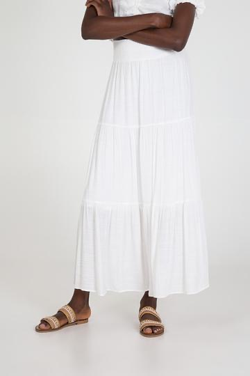 Plain Tiered Gypsy Maxi Skirt