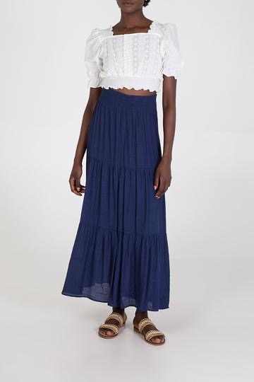 Plain Tiered Gypsy Maxi Skirt