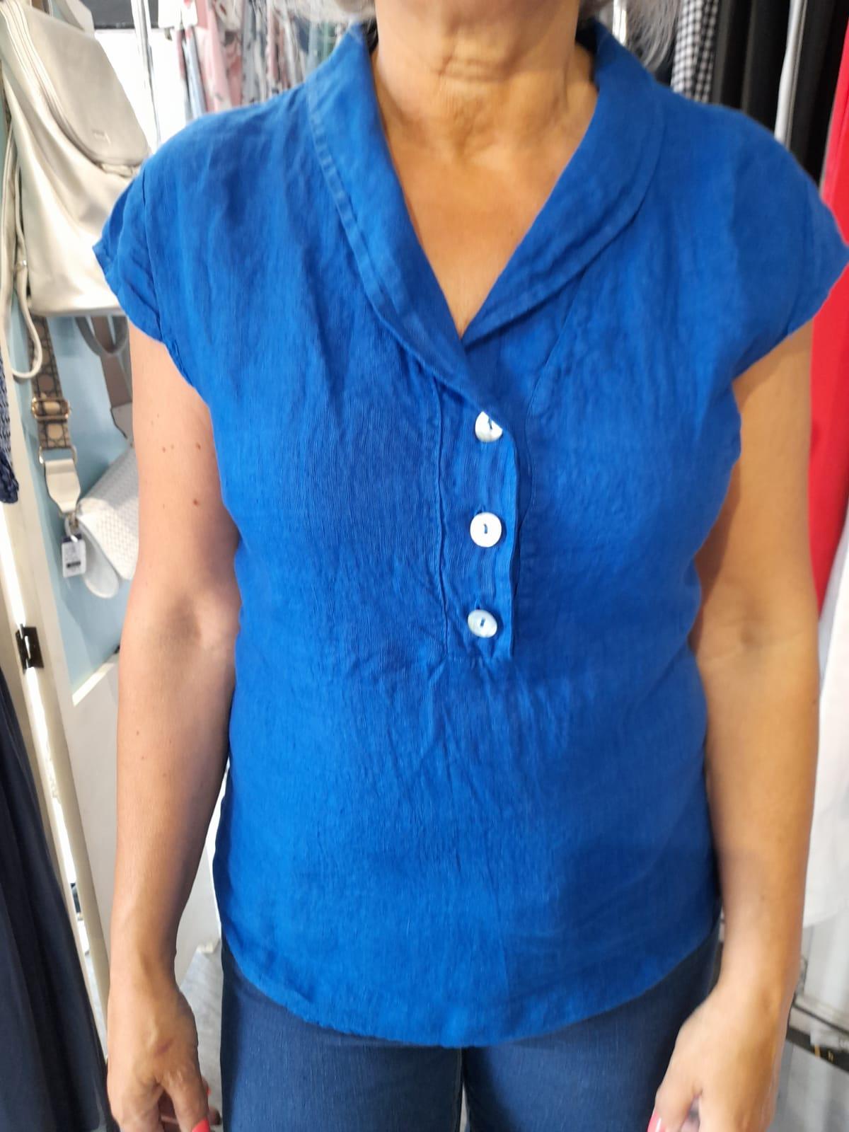 ET01 V Neck Button Linen Top