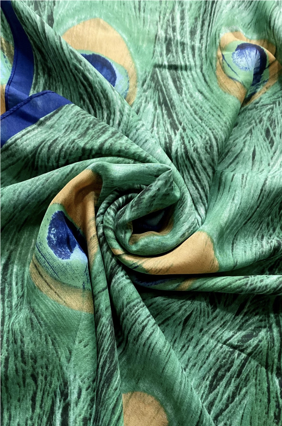 3475 Peacock Feather Print Silk Scarf
