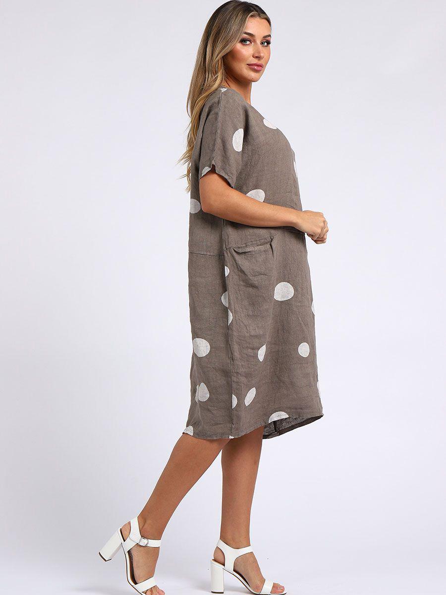 RW4020 Polka Dot Linen Dress