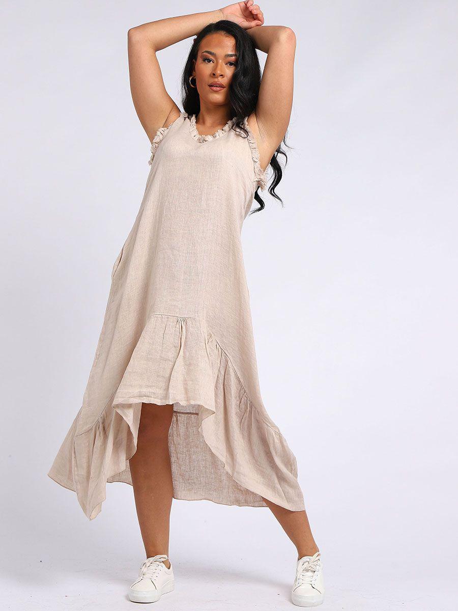 RW5890 V-Neck Frilled Hem Linen Tunic Dress