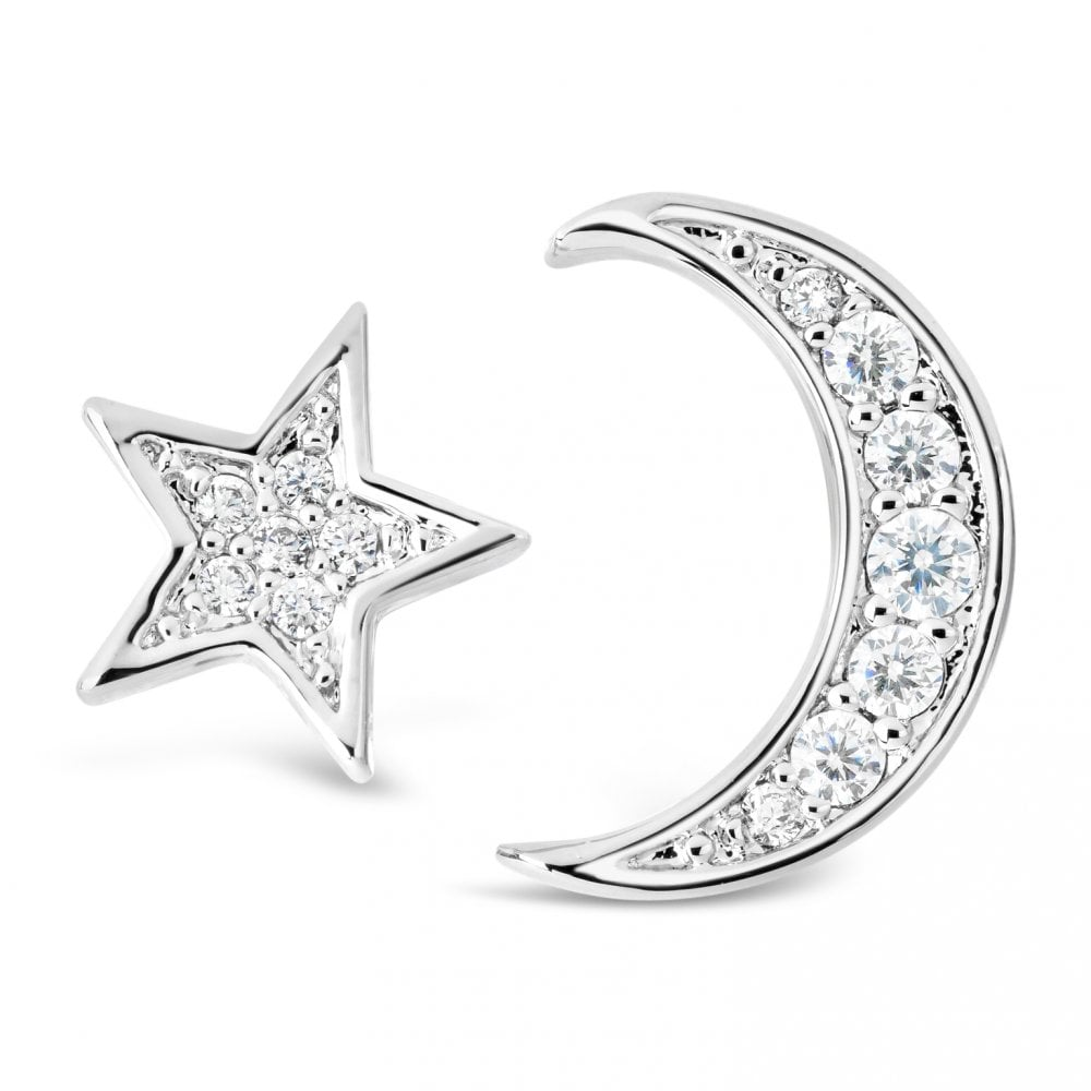 E20322 Silver Plated Moon & Stars Stud Earrings