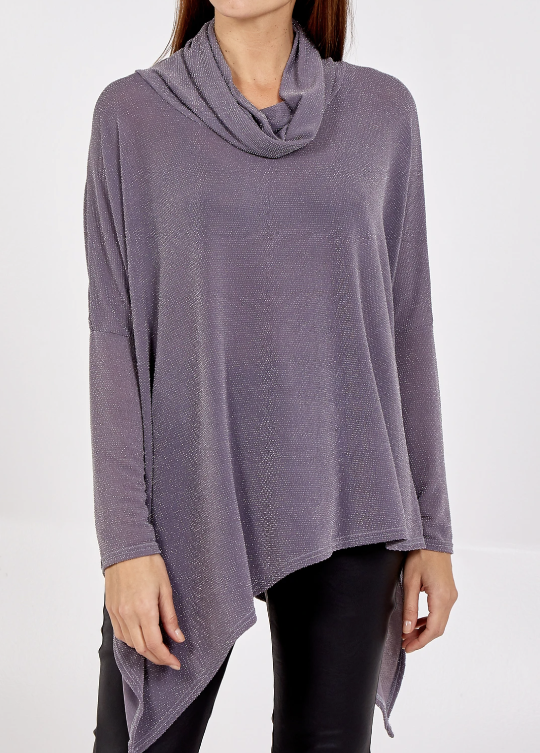 NV796 Cowl Neck Glitter Long Sleeve Top