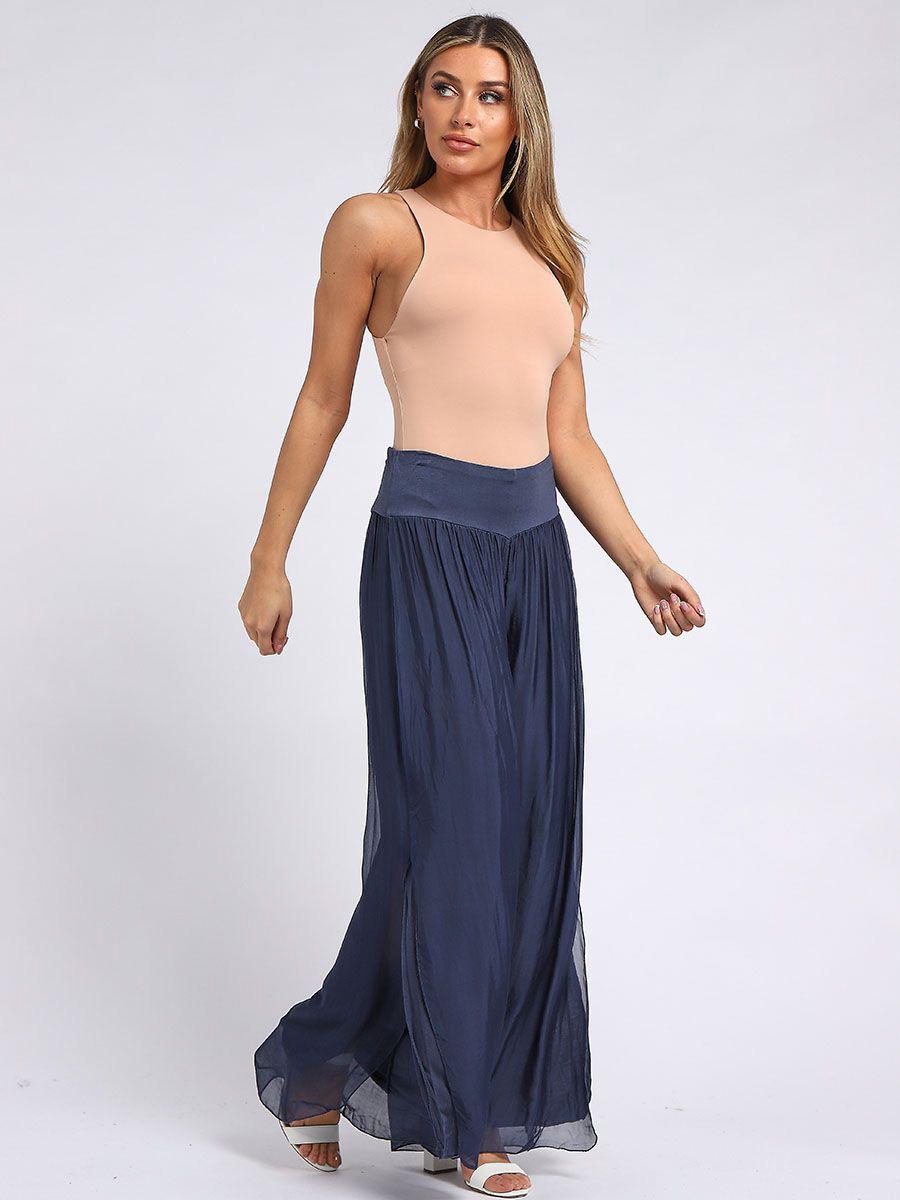 RW6156 Wide Leg Side Silk Harem Trouser