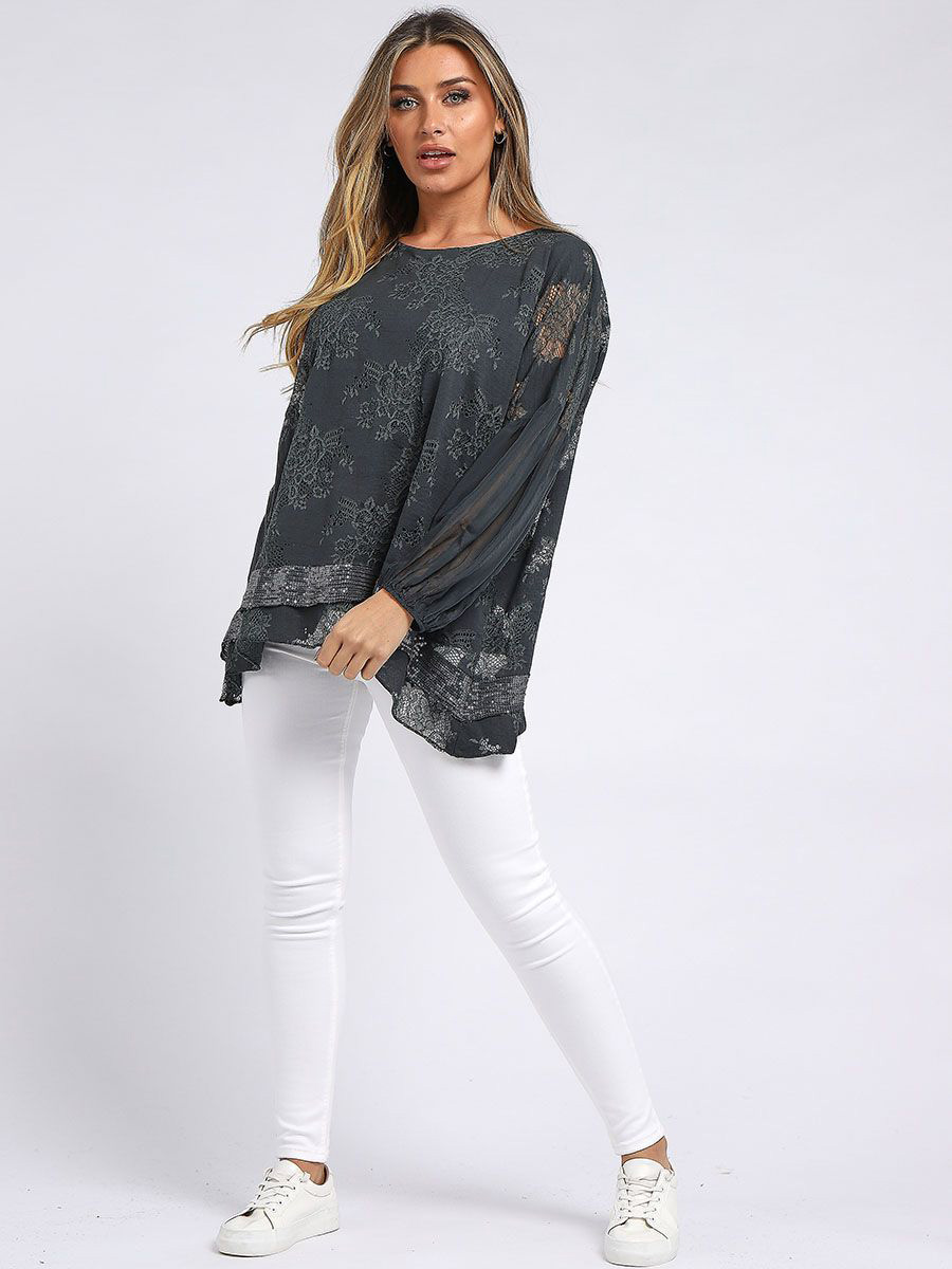 RW6158 Embroidered Oversized Top