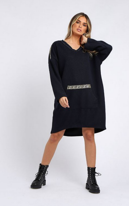 6100 Italian Glittery V-Neck Lagenlook Dress
