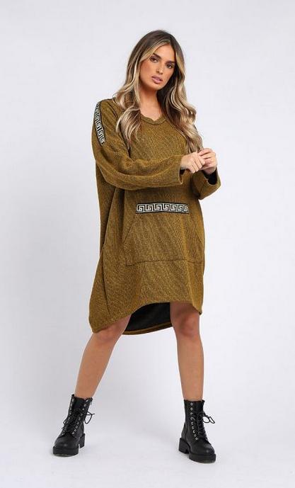 6100 Italian Glittery V-Neck Lagenlook Dress