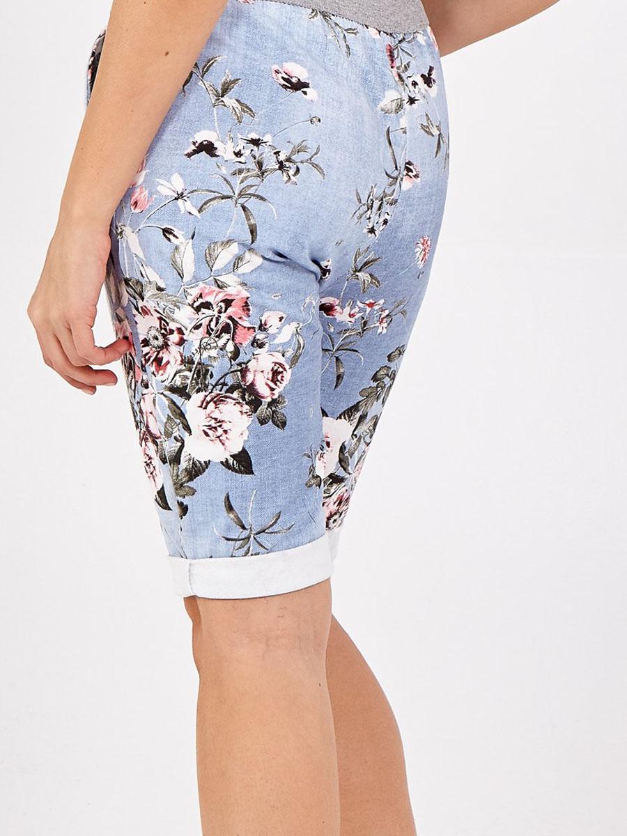 NV1092 Light Denim Floral Shorts