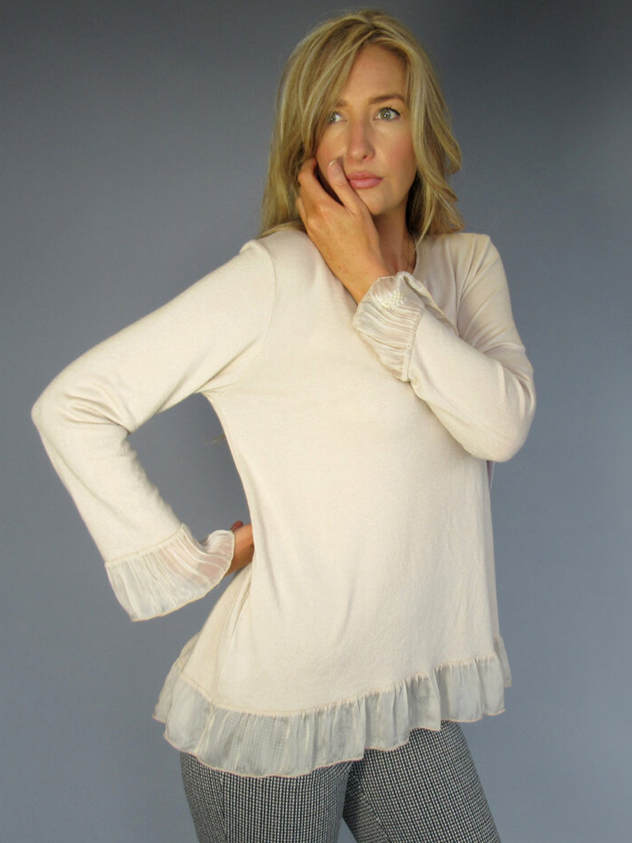 8256 Crew Neck Tunic with Frill Sleeves