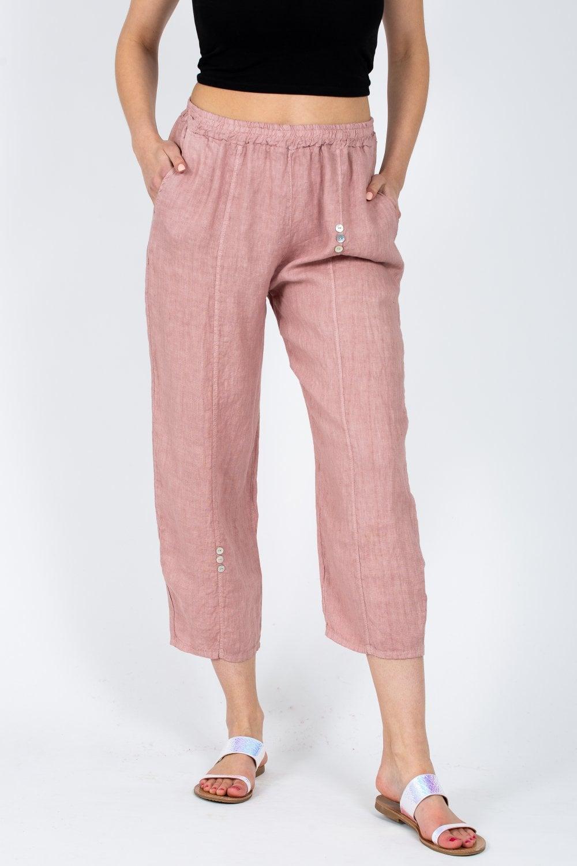 Buttoned Linen Trouser