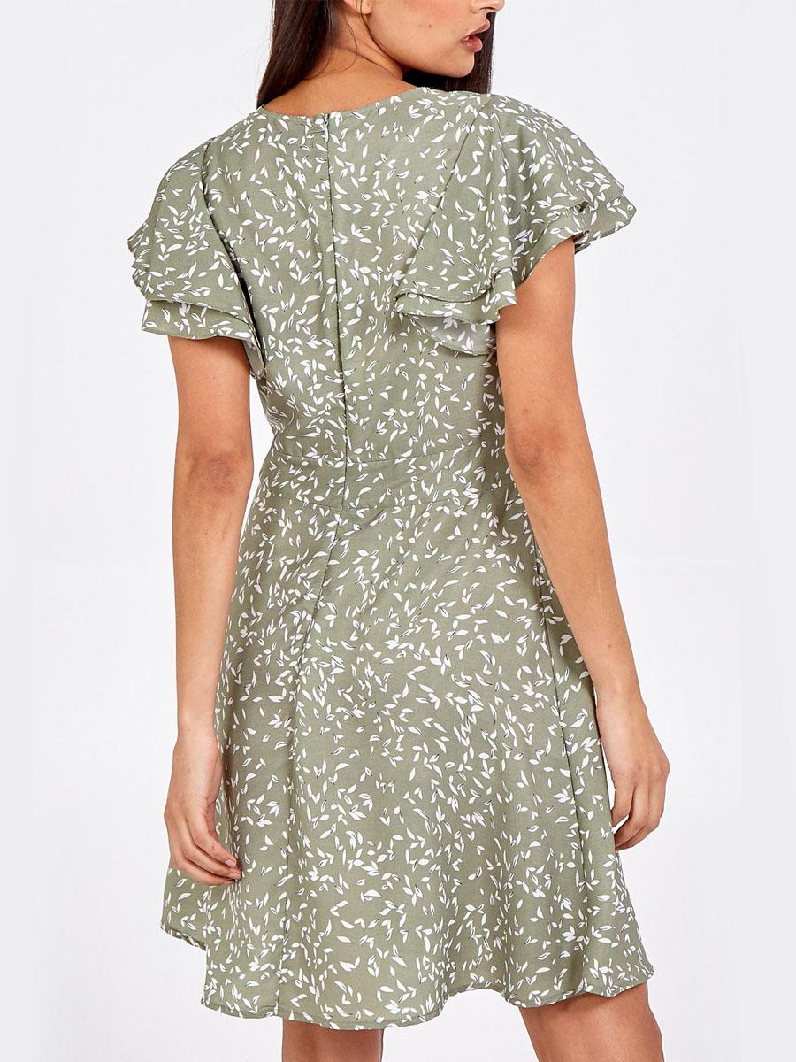 NL6886 Wrap Front Frill Dress