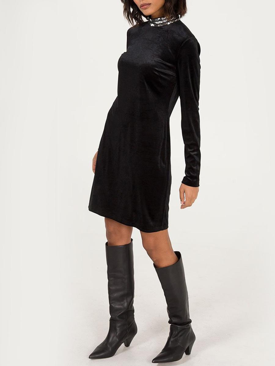 NL5888 Studded High Neck Dress