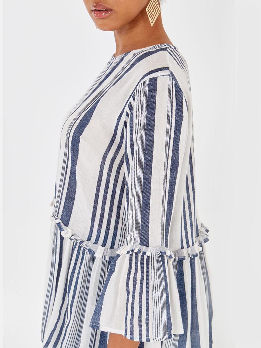 NL2495 Peplum Frill Stripe Top
