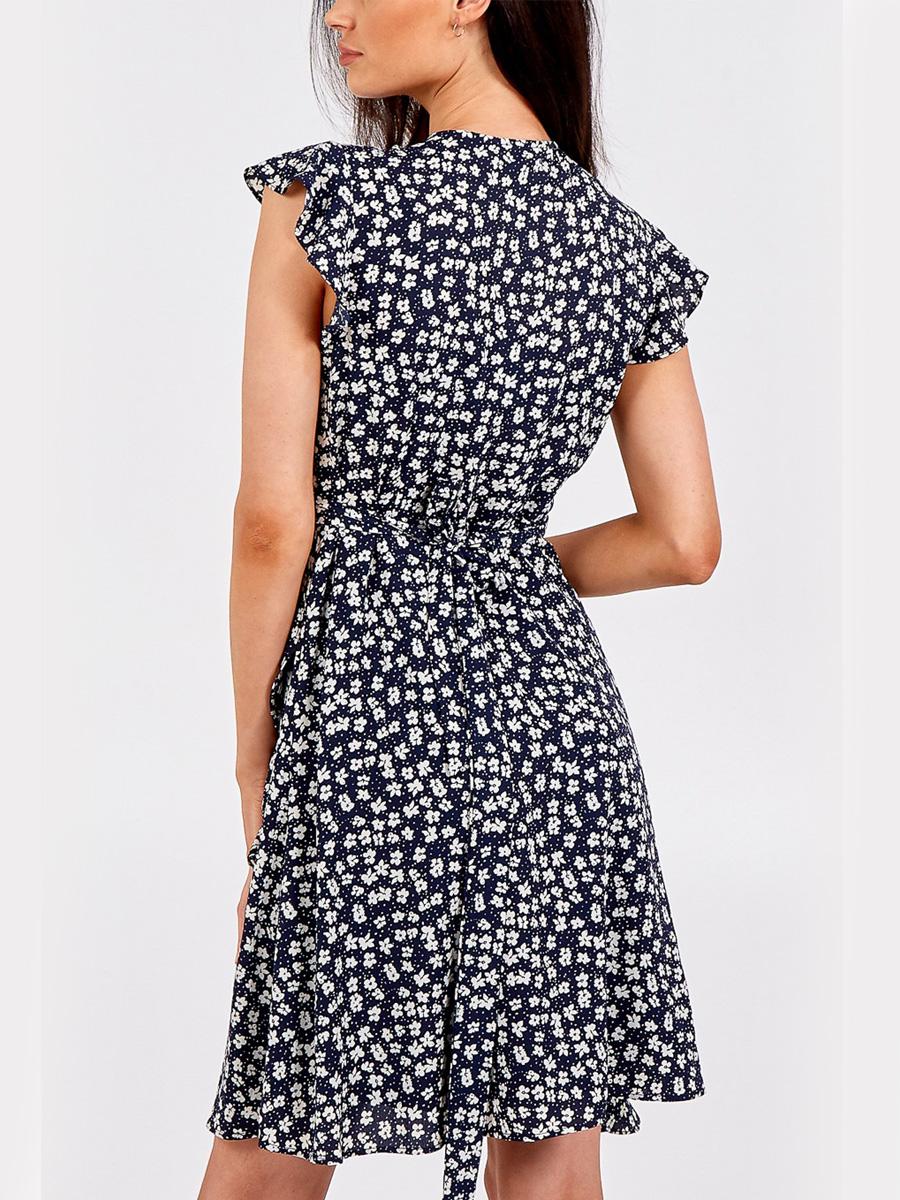 NL8845 Floral Print Wrap Dress