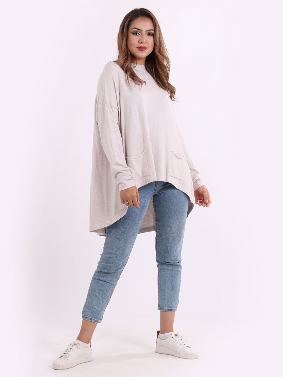 M1275 Front Pocketed Baggy Sweater