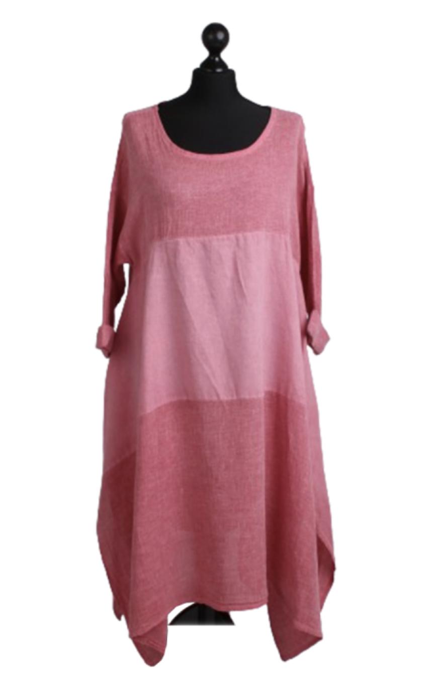 6178 Acid Washed Tunic Hem Linen Slouch Dress