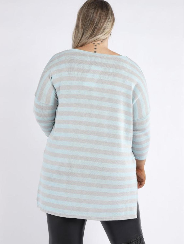 6237 Stripey Print Dipped Hem Tunic Top