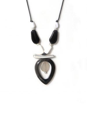 1270 ENVY Grey & White Pebble Necklace