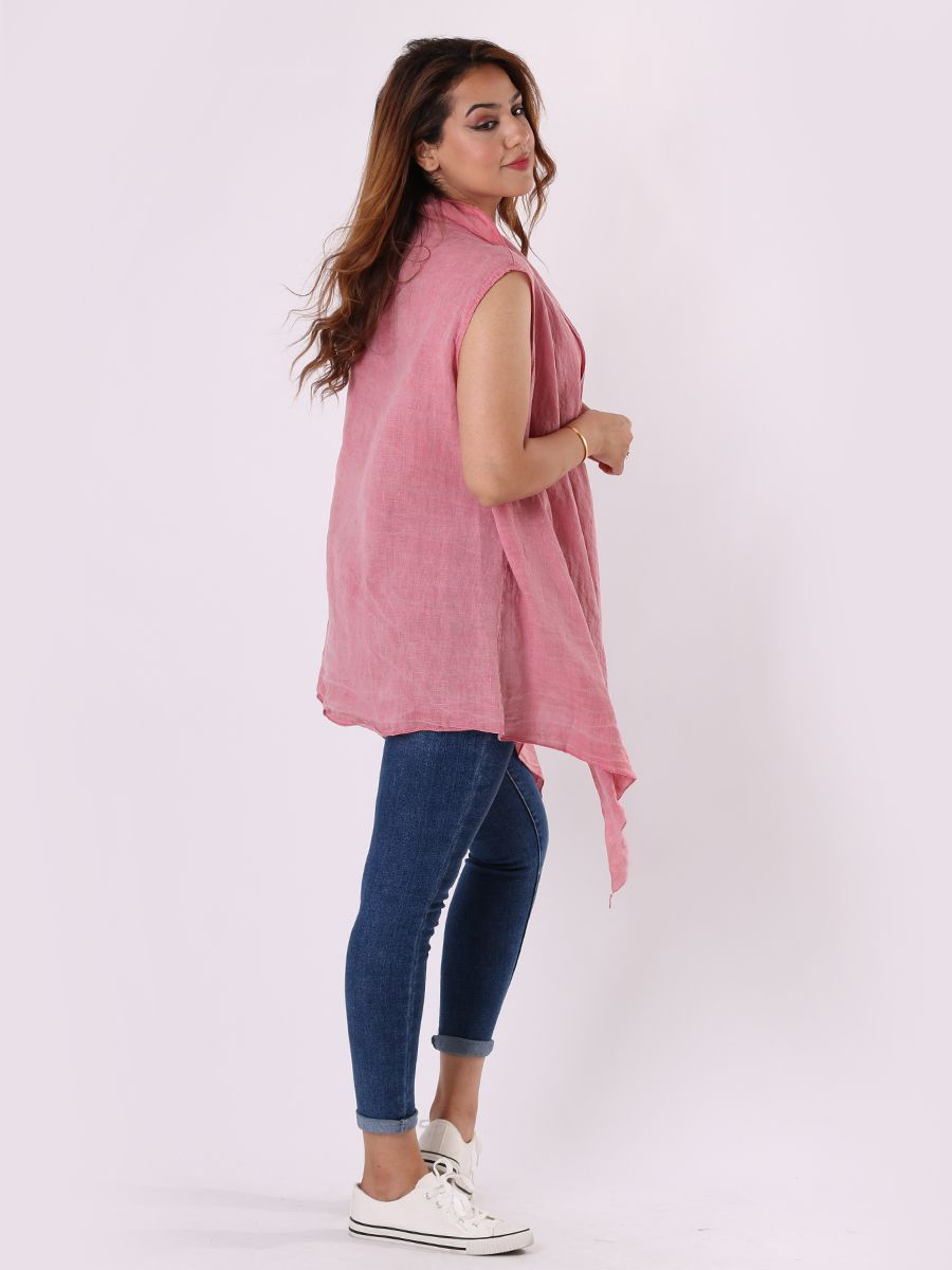 RW6537 Linen Side Twisted Knot Tunic