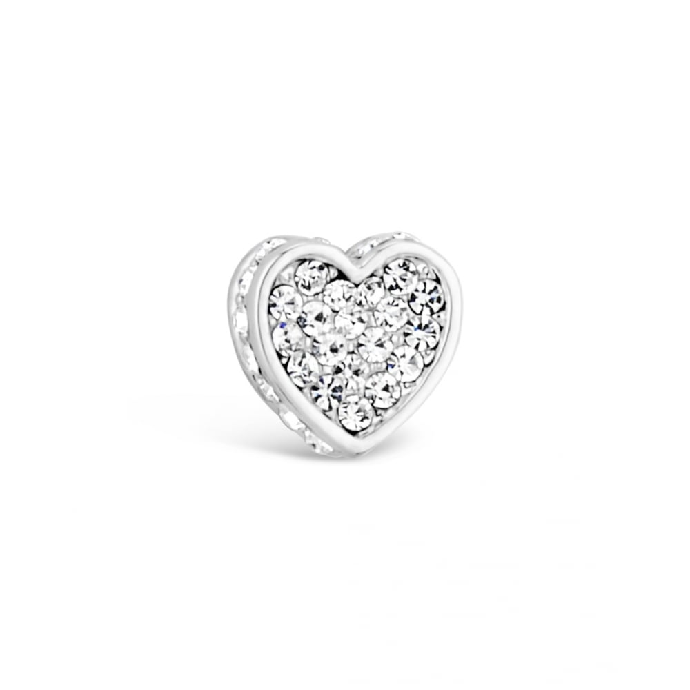 E17113 Silver Plated Heart Shape Stud Earrings