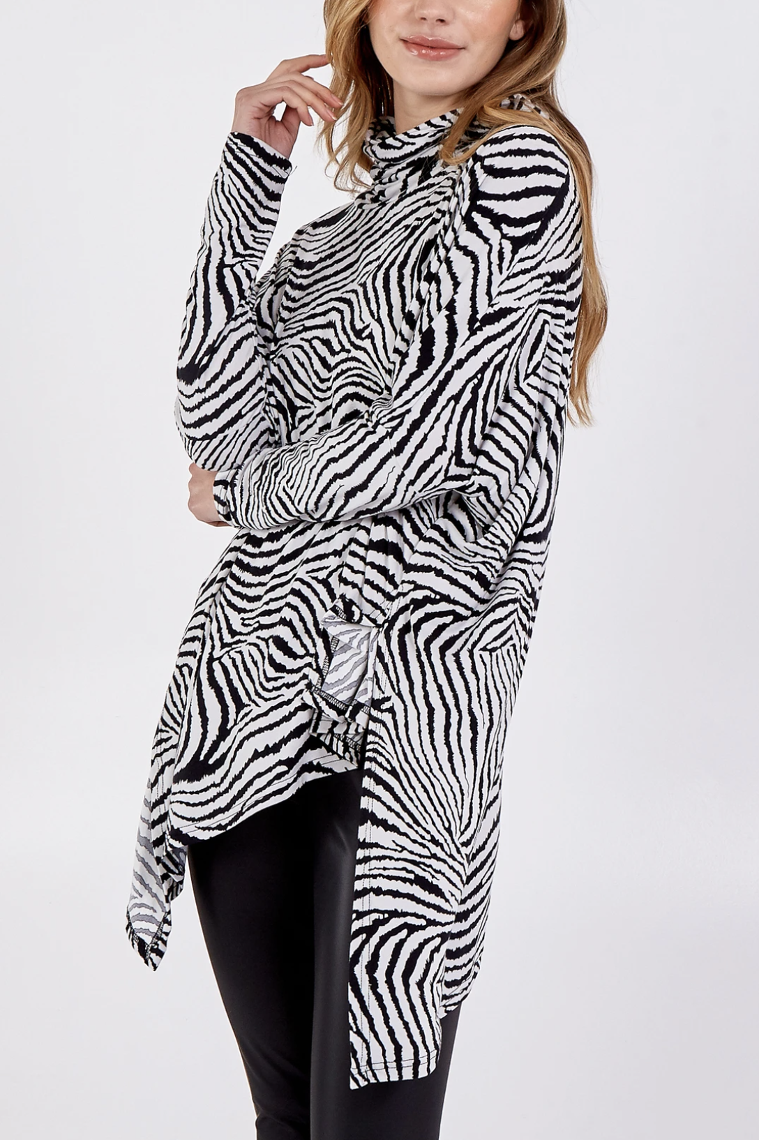 NL7429 Abstract Zebra Oversized Cowl Neck Top