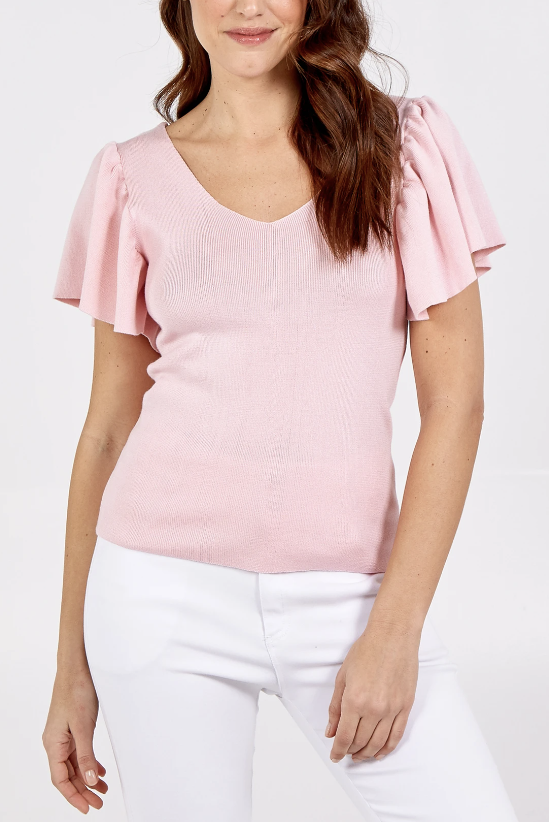 QED1467 V-Neck Ribbed Top With Flared Sleeves