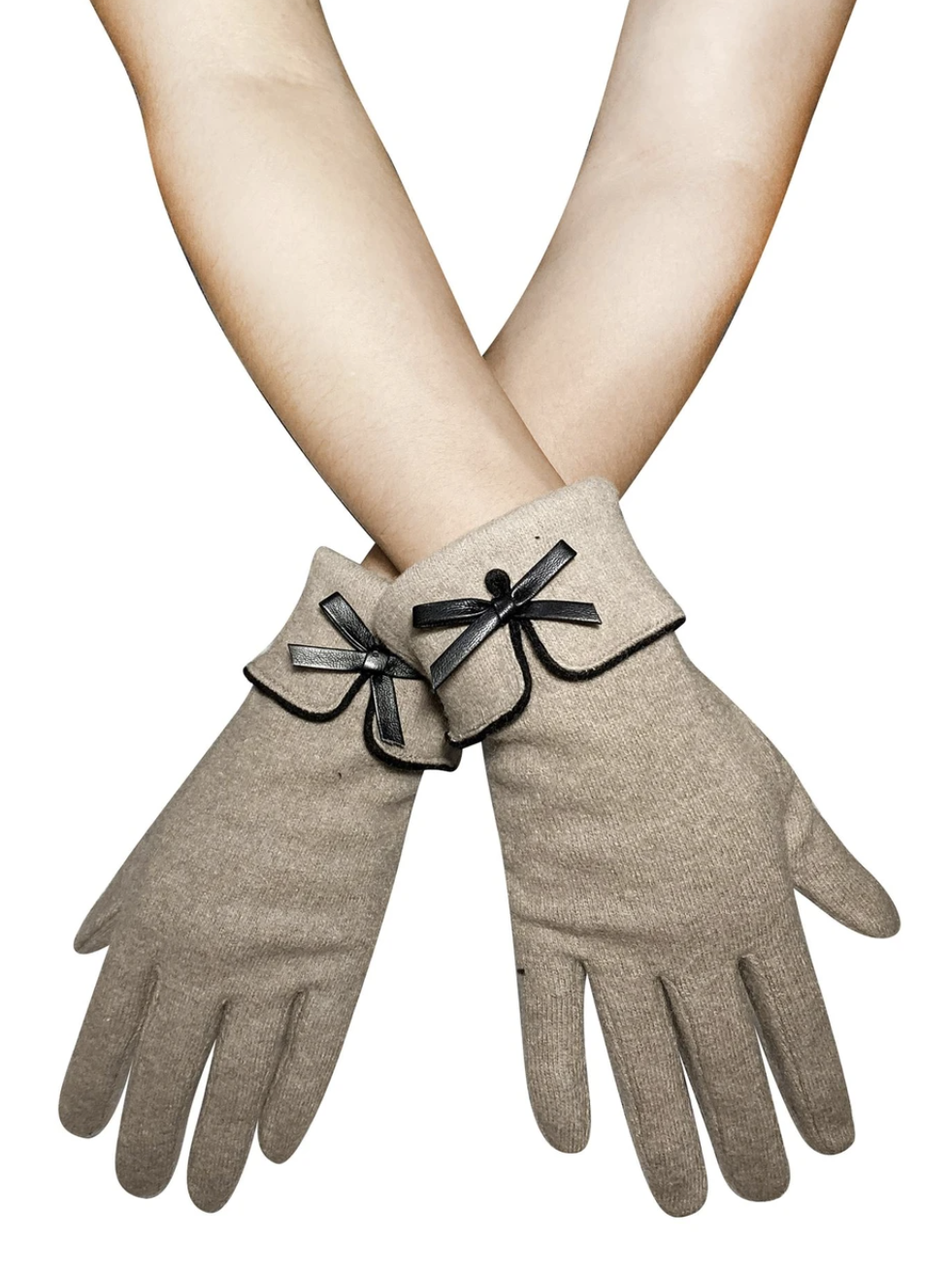 3577 Preppy Style Bow Touchscreen Gloves