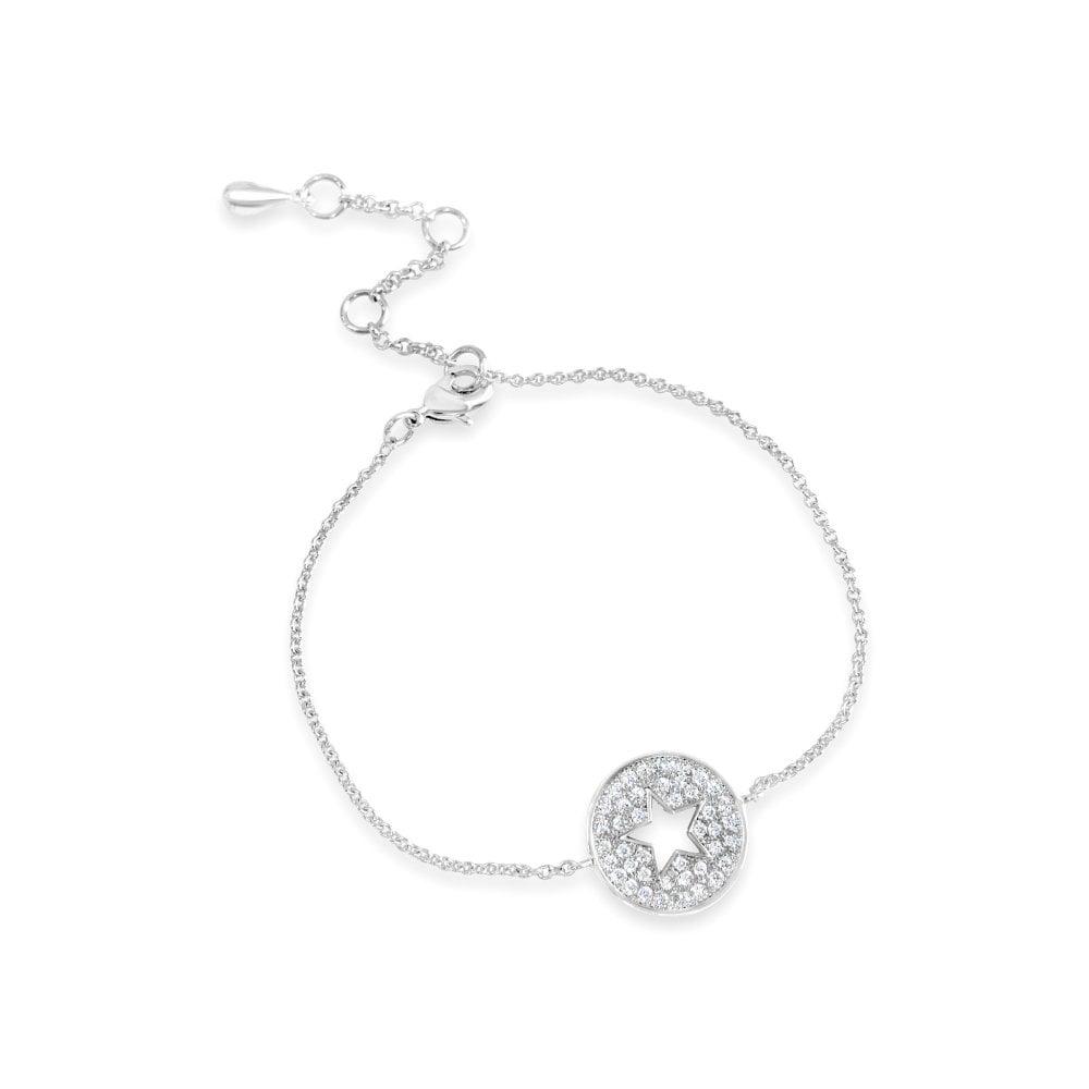 B18685 Star white  Cubic Zirconia Rhodium plated bracelet