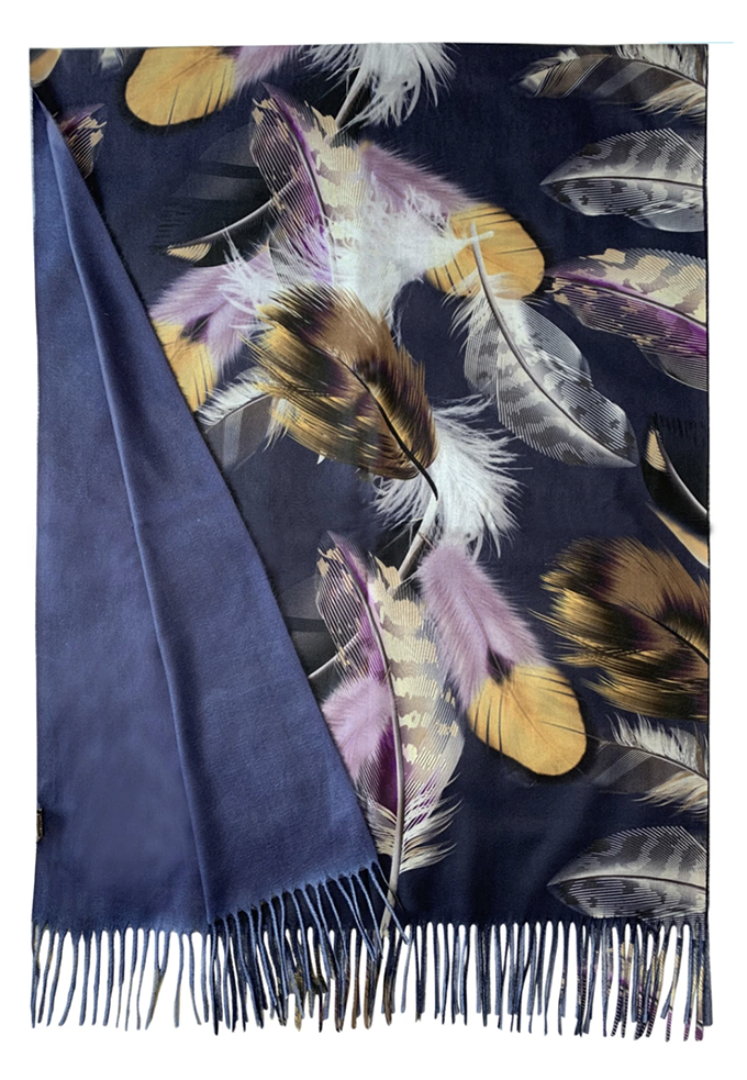 3686 Feather Print Wool Scarf