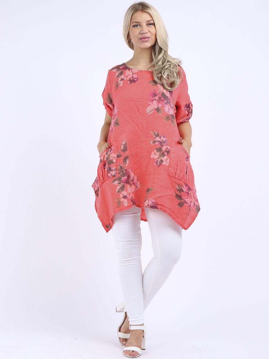 RW3098 Floral Linen Tunic