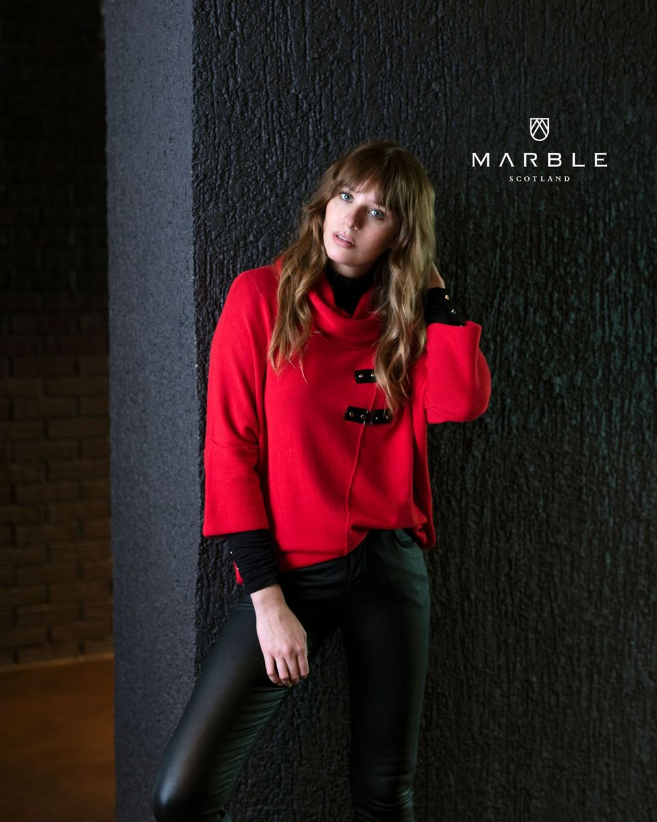 5868 MARBLE Loose Jumper with Buckle