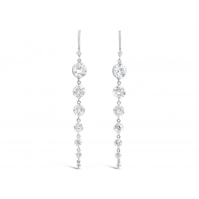 E18681 Long White Cubic Zirconia Earings