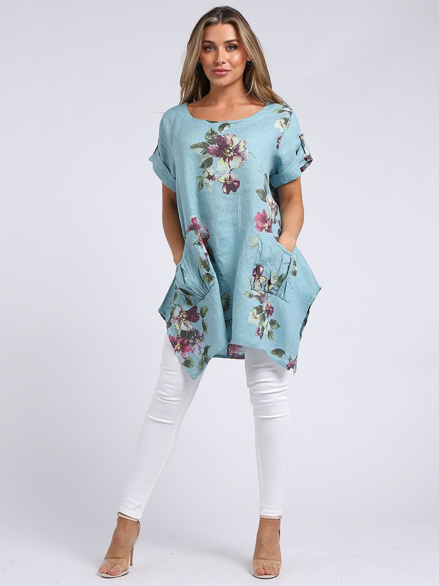 RW-3098 Floral Tunic Top