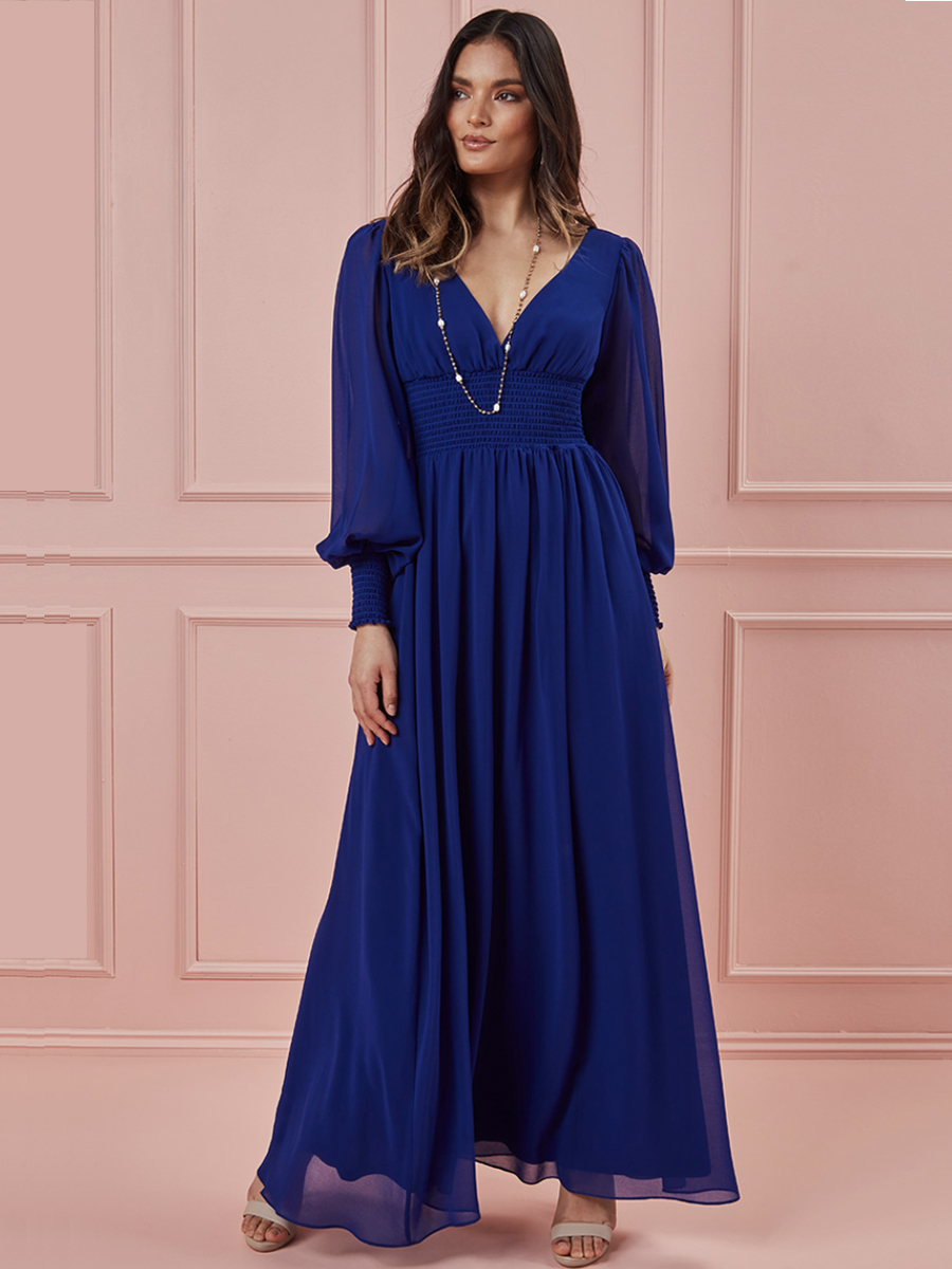 DR3018 CHIFFON MAXI with Blouson Sleeves