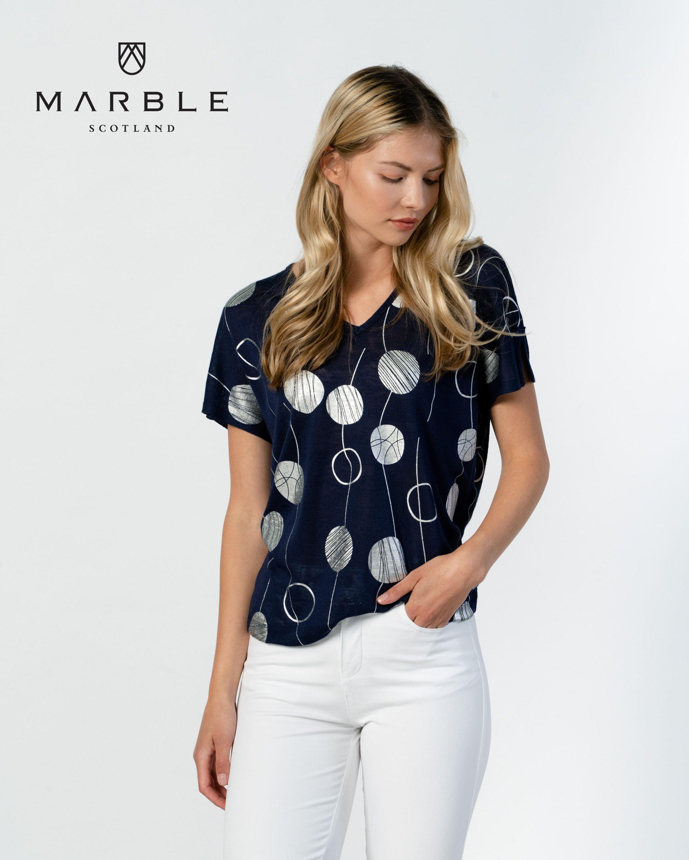 6097 MARBLE foil circle print V neck top