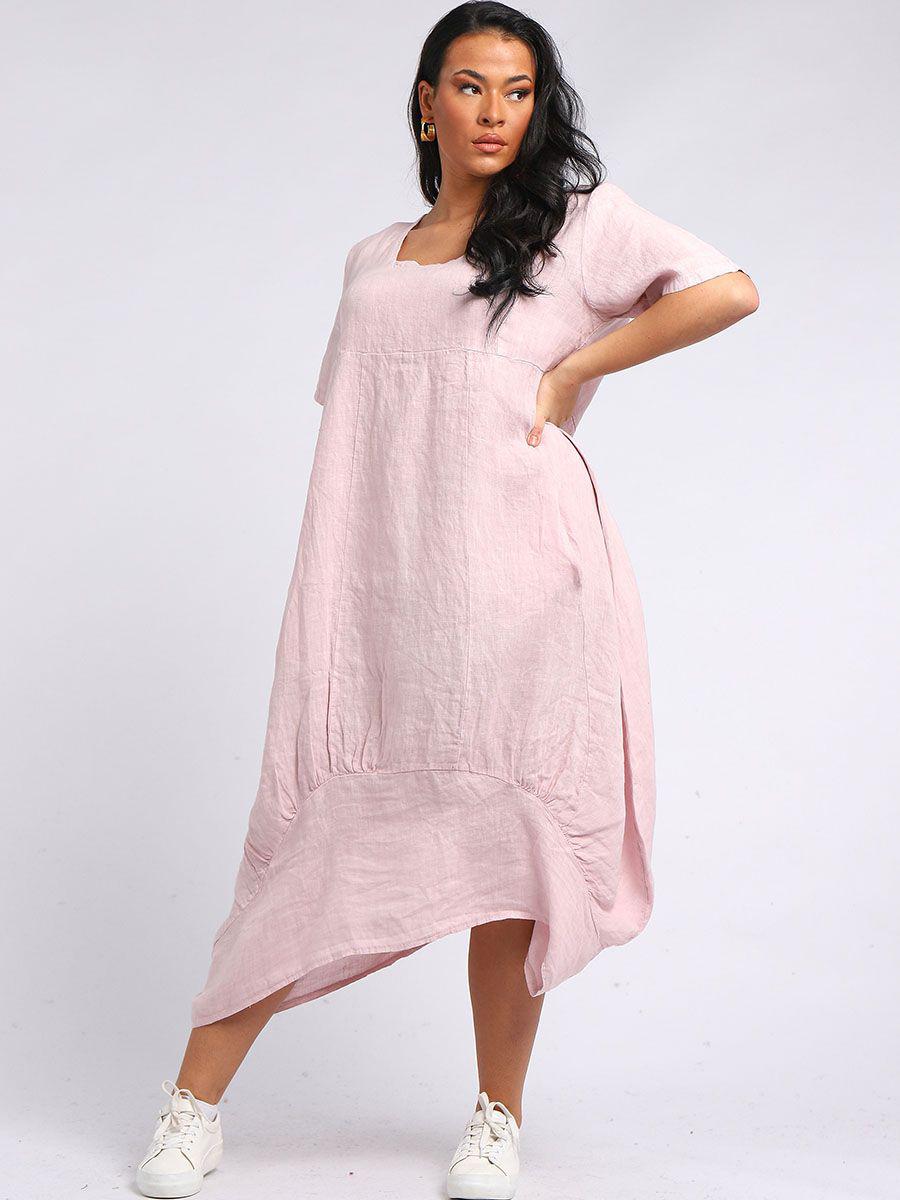 RW5889 Balloon Hem Linen Tunic Dress