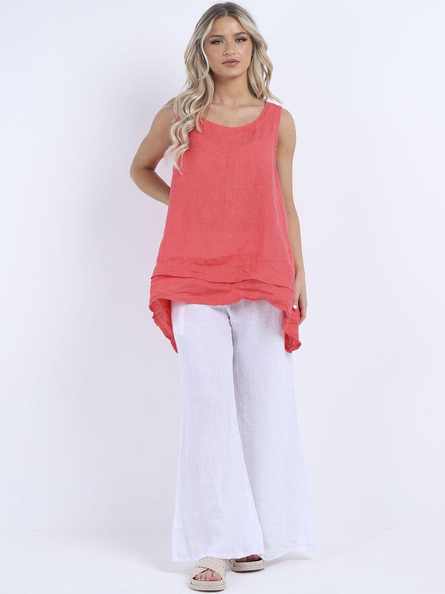 RW6503 Linen Sleeveless Summer Tunic Top