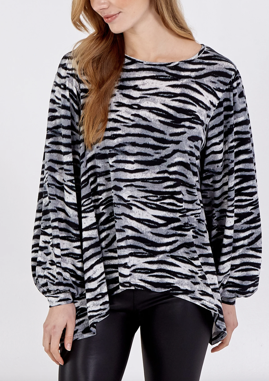 NL8423 Volume Sleeve Zebra Top