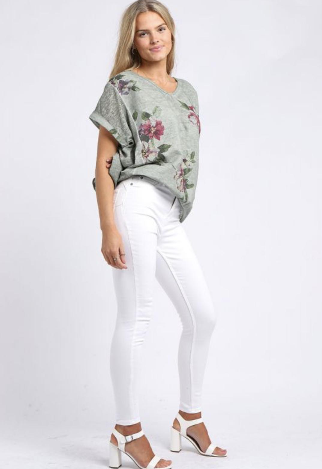 5774 Floral Print Hi-Lo Linen Top