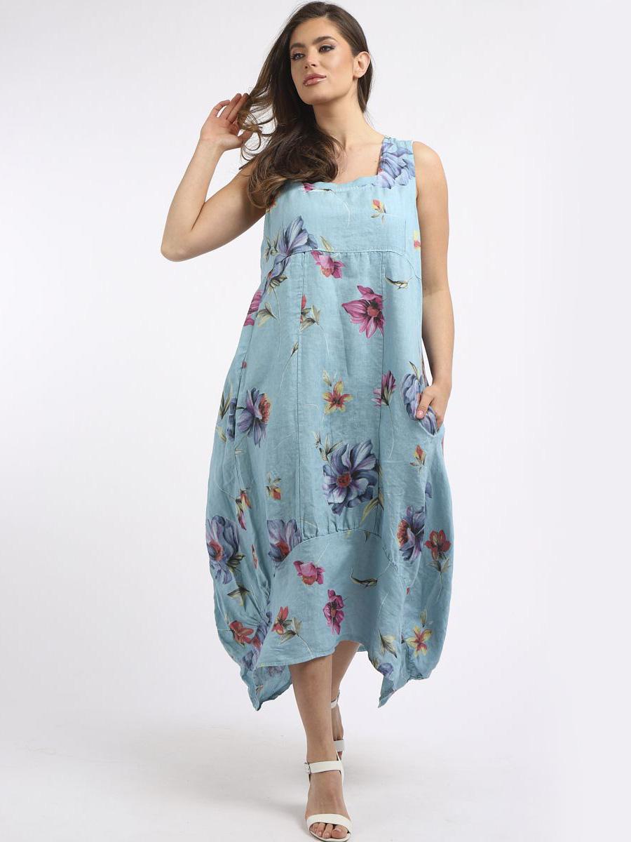 RW6379 Floral Print Sleeveless Linen Dress
