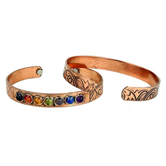 Chakra/magnet-armband koppar