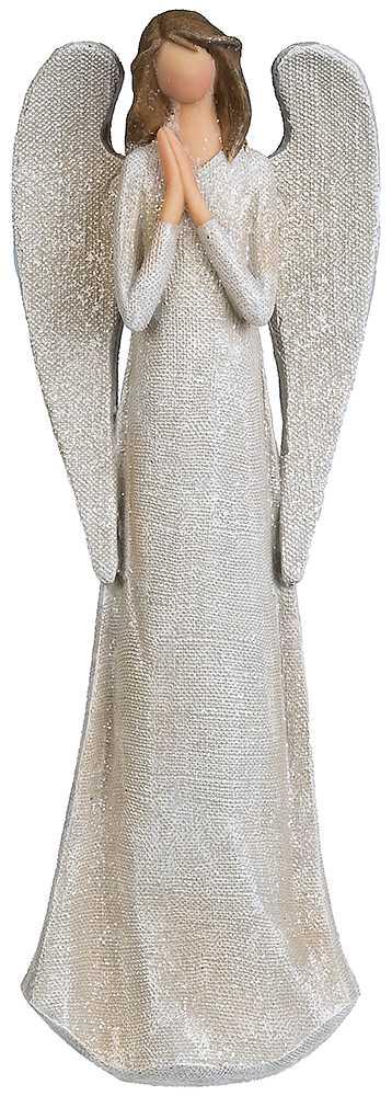 Silverglittrig ängel 31 cm