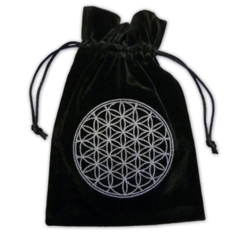 Tarotpåse - Livets blomma svart sammet