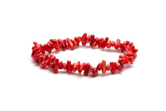 Armband stenchips - Röd korall