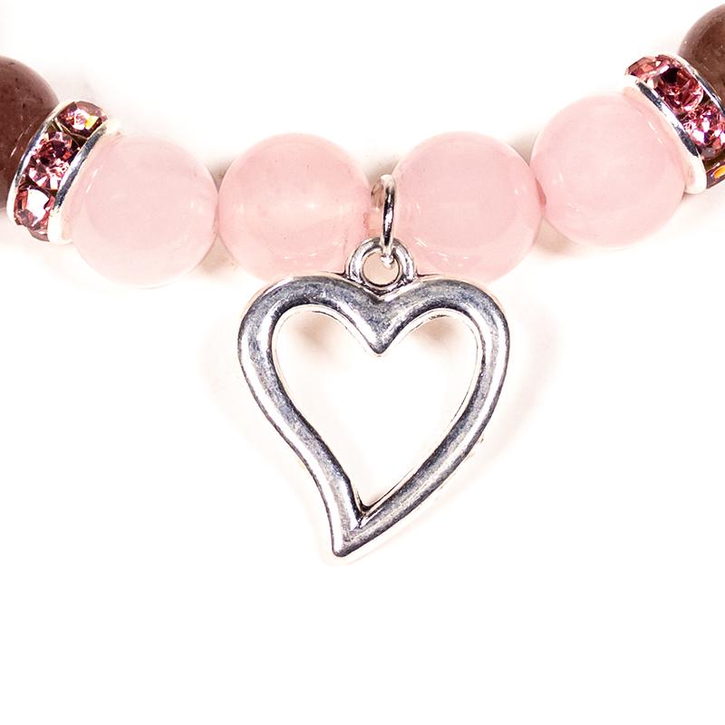 Armband rosenkvarts/jordgubbskvarts m hjärta