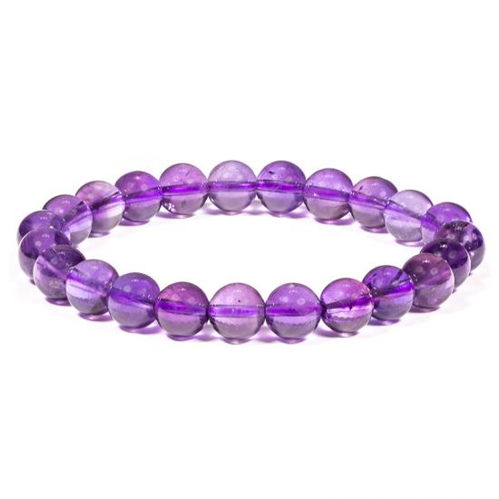 Armband - Ametist runda pärlor