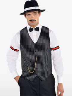 MENS/DECADES/1920'S/Gangster Waistcoat - Adult Costume - SIZE MEDIUM