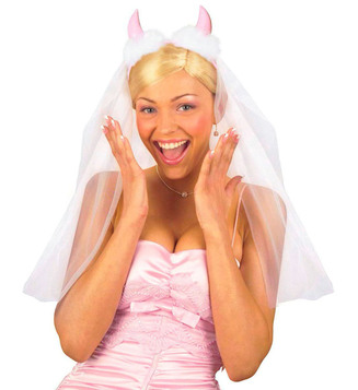 ACCESSORIES/HENS & STAGS/BRIDAL VEILS W/PINK HORNS