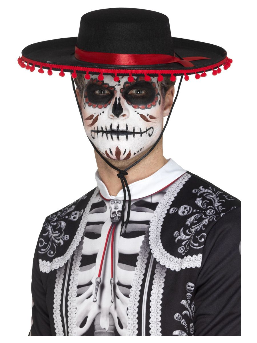 ACCESSORIES/HATS & HEADBANDS/Day of the Dead Senor Hat, Black & Red